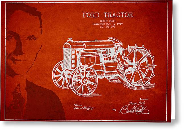 Henry Digital Greeting Cards - Vintage Ford Tractor Patent Drawing From 1919 Greeting Card by Aged Pixel