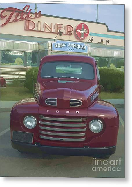Diner Greeting Cards - Vintage Ford Truck outside the Tiltn Diner Greeting Card by Edward Fielding