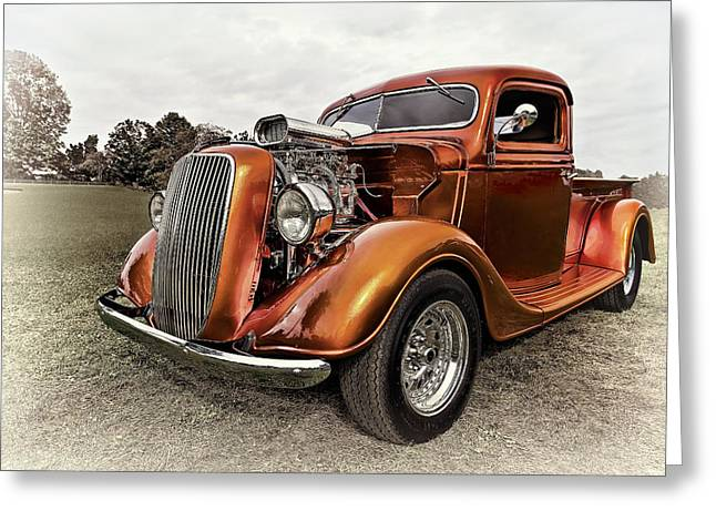 Up And Coming Greeting Cards - Vintage Ford Truck Rod Greeting Card by Marcia Colelli