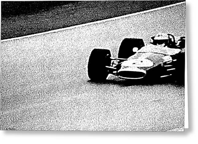 Smooth Ride Greeting Cards - Vintage Formula 1 Racer Greeting Card by George Pedro