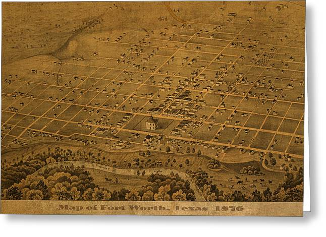 1876 Greeting Cards - Vintage Fort Worth Texas in 1876 City Map On Worn Canvas Greeting Card by Design Turnpike