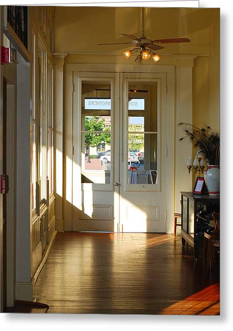 Vintage Foyer Filled With Light - The Ant Street Inn Greeting Card by Connie Fox