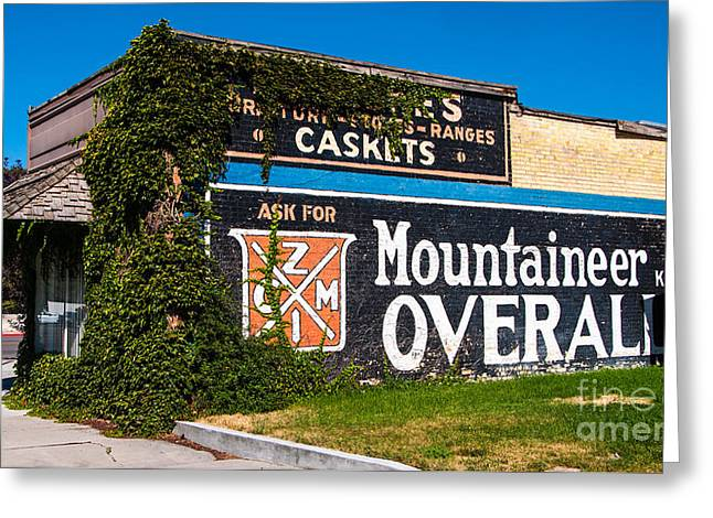 Overalls Greeting Cards - Vintage Franklin Idaho Ghost Sign Advertisement Greeting Card by Gary Whitton