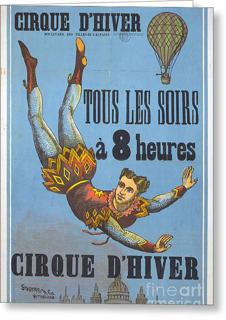 Cirque Greeting Cards - Vintage French Circus Poster Greeting Card by Vintage Circus Poster