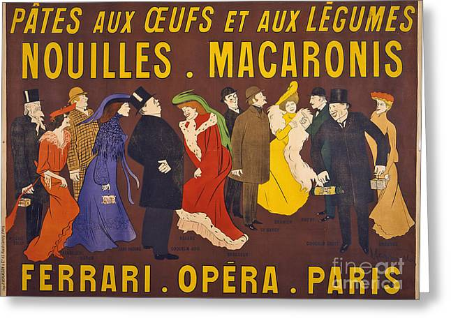 Vintage French Paris Opera Pasta Poster Greeting Card by Edward Fielding
