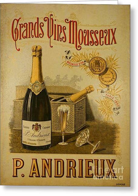 Vintage French Poster Andrieux Wine Greeting Card by Olivier Le Queinec