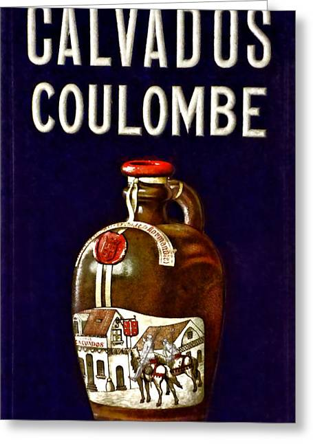 Calvados Greeting Cards - Vintage French Poster Calvados Coulombe Greeting Card by Olivier Le Queinec
