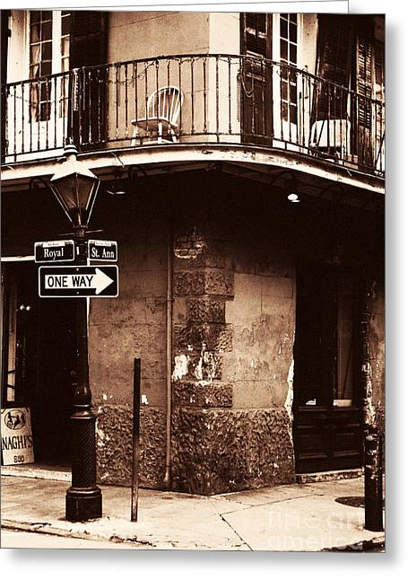 Photo Art Gallery Greeting Cards - Vintage French Quarter Greeting Card by John Rizzuto