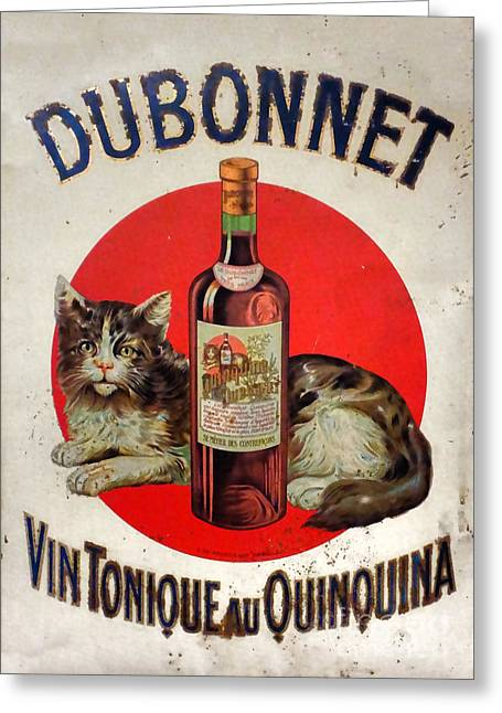 Old Posters Greeting Cards - Vintage French Tin Sign Dubonnet Greeting Card by Olivier Le Queinec