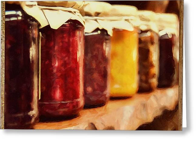 Vintage Fruit And Vegetable Preserves I Greeting Card by Georgiana Romanovna