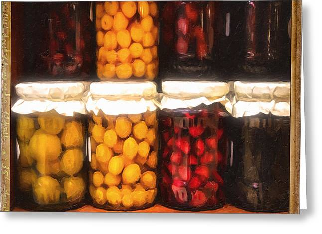 Fresh Produce Mixed Media Greeting Cards - Vintage Fruit And Vegetable Preserves II Greeting Card by Georgiana Romanovna