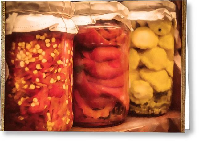 Vintage Fruit And Vegetable Preserves IIi Greeting Card by Georgiana Romanovna