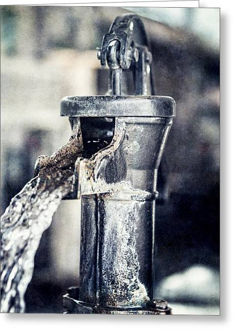 Ft Worth Greeting Cards - Vintage Ft. Worth Stockyards Water Pump Greeting Card by Lisa Russo
