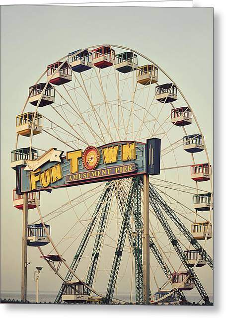 Seaside Heights Greeting Cards - Vintage Funtown Ferris Wheel Greeting Card by Terry DeLuco