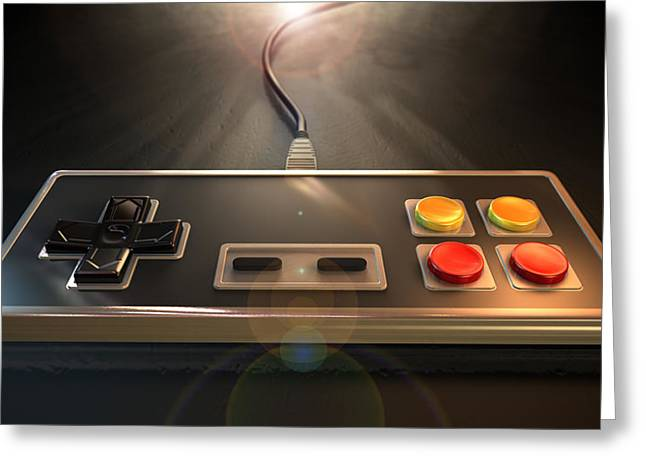 Vintage Gaming Controller Greeting Card by Allan Swart