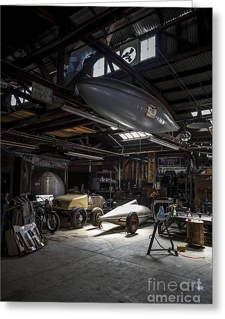 Car Show Photography Greeting Cards - Vintage Garage - Metal and Speed Greeting Card by Holly Martin