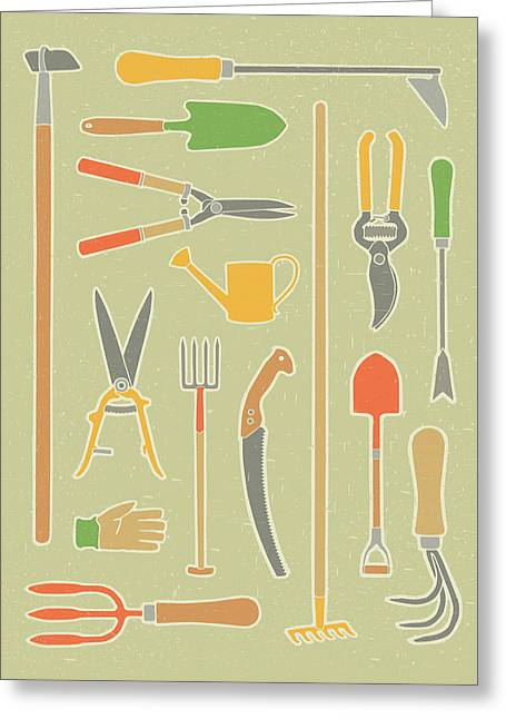 Vintage Garden Tools Greeting Card by Mitch Frey