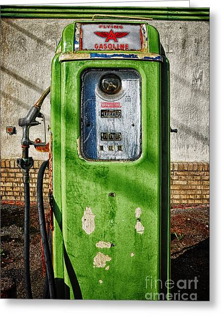Ford Model T Car Greeting Cards - Vintage Gas Pump Greeting Card by Bob Stone