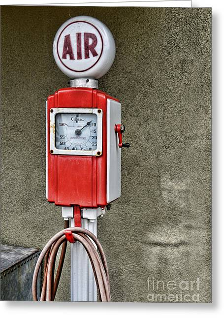 Division Greeting Cards - Vintage Gas Station Air Pump 2 Greeting Card by Paul Ward