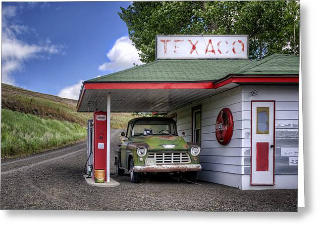 Lady Washington Greeting Cards - Vintage Gas Station - Chevy Pick-up Greeting Card by Nikolyn McDonald