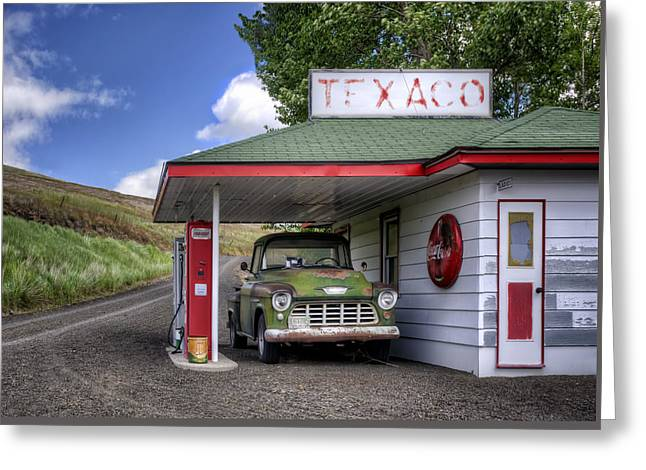 Petrol Green Greeting Cards - Vintage Gas Station - Chevy Pick-up Greeting Card by Nikolyn McDonald