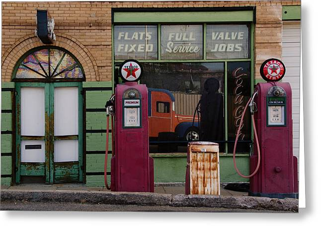 Bisbee Greeting Cards - Vintage Gas Station day time Greeting Card by Dave Dilli