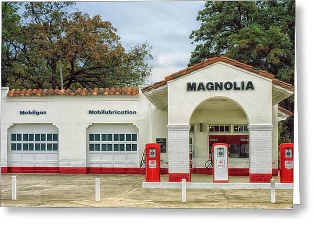 Little Rock Arkansas Greeting Cards - Vintage Gas Station - Little Rock Arkansas Greeting Card by Mountain Dreams
