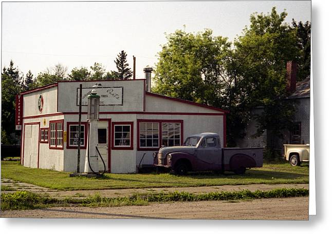 Speer Greeting Cards - Vintage Gas Station Greeting Card by Roxy Hurtubise