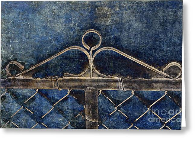 Linked Mixed Media Greeting Cards - Vintage Gate - Fence - Chain Link - Texture - Abstract Greeting Card by Andee Design