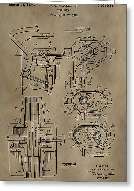 Transmission Mixed Media Greeting Cards - Vintage Gear Shift Patent Greeting Card by Dan Sproul