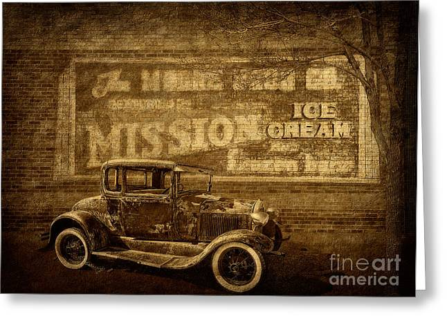 Sepia And Cream Greeting Cards - Vintage Ghost Writing and Automobile Greeting Card by Priscilla Burgers