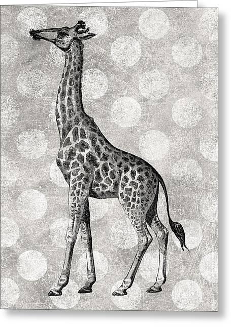 Gray Giraffe Greeting Card by Flo Karp