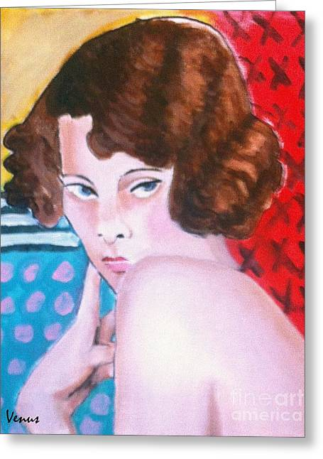 Brunette Nude Art For Sale Greeting Cards - Vintage Girl Greeting Card by Venus