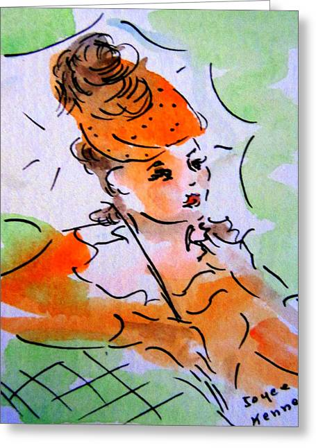 40s Paintings Greeting Cards - Vintage Girl with Umbrella Greeting Card by Joyce  Kenney