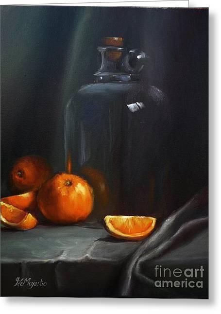 Vintage Glass Jug And  Oranges Greeting Card by Viktoria K Majestic
