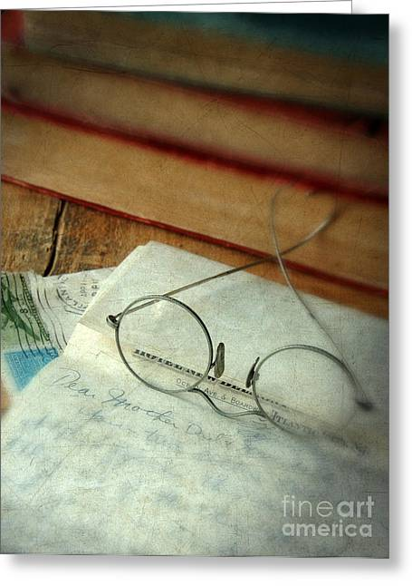 Love Letter Greeting Cards - Vintage Glasses Letter and Books Greeting Card by Jill Battaglia