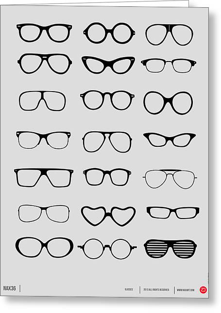 Vintage Glasses Poster 1 Greeting Card by Naxart Studio