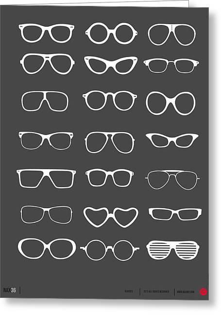 Brainy Greeting Cards - Vintage Glasses Poster 2 Greeting Card by Naxart Studio