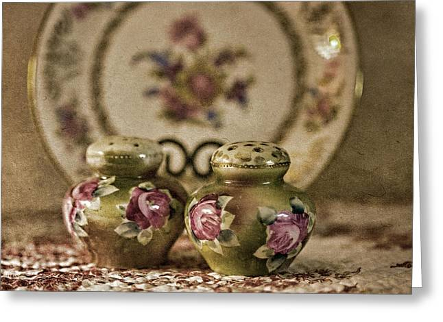 Fine Dining Prints Greeting Cards - Vintage Glassware Greeting Card by Bonnie Bruno