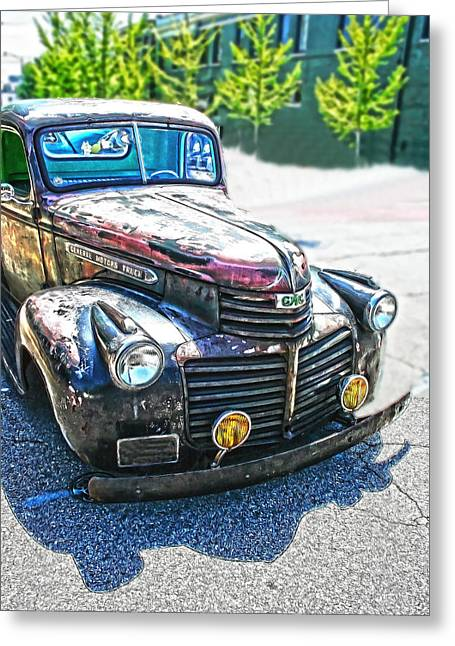 Automobile Greeting Cards - Vintage GM Truck Frontal HDR Greeting Card by Lesa Fine