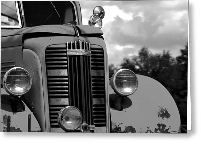 Huntsville Greeting Cards - Vintage GMC Fire Truck BW Greeting Card by Lesa Fine