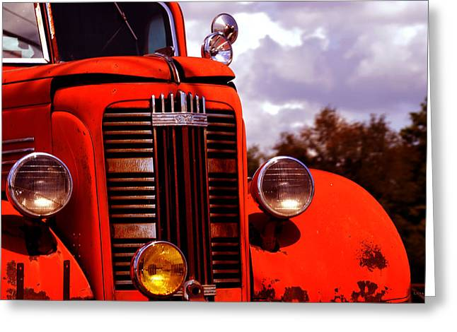 Huntsville Greeting Cards - Vintage GMC Fire Truck  Greeting Card by Lesa Fine