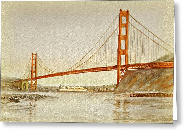 Ship Reflection Greeting Cards - Vintage Golden Gate Bridge Greeting Card by Irina Sztukowski