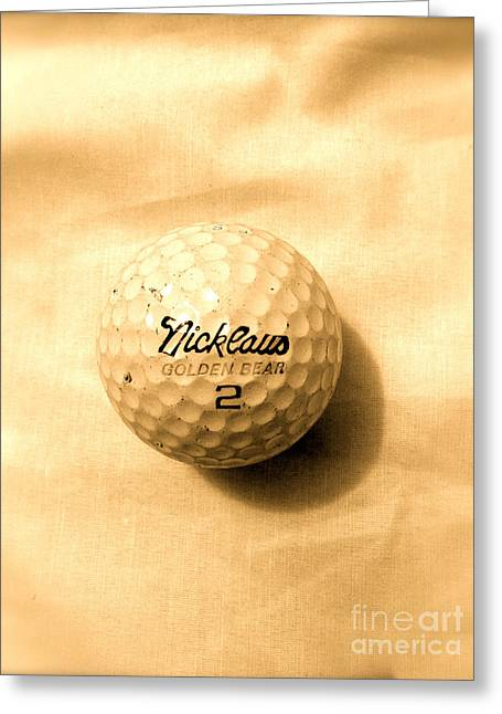 Vintage Golf Ball Greeting Card by Anita Lewis