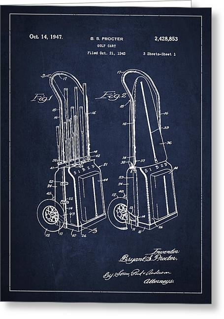 Cart Digital Art Greeting Cards - Vintage Golf Cart Drawing from 1943 Greeting Card by Aged Pixel