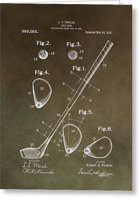 Chipper Greeting Cards - Vintage Golf Club Patent Greeting Card by Dan Sproul