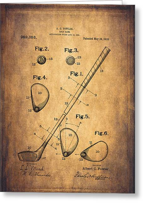 Golf Design Greeting Cards - Vintage Golf Club Patent Drawing - 1909 Greeting Card by Maria Angelica Maira