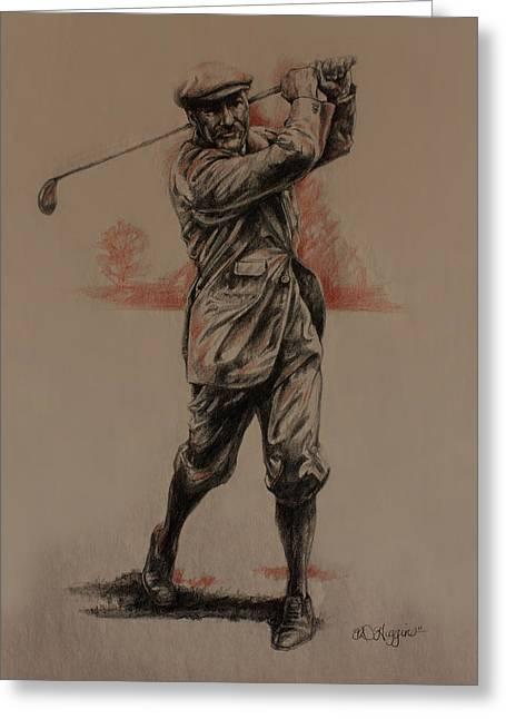 Golf Drawings Greeting Cards - Vintage Golfer Greeting Card by Derrick Higgins