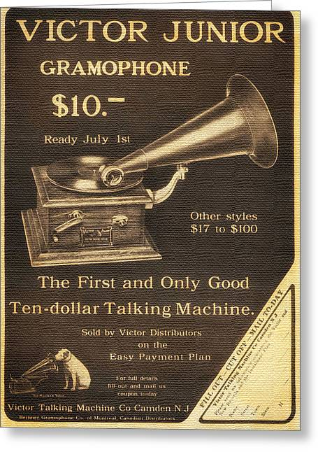 Talking Dog Greeting Cards - Vintage Gramophone Advertisement 1909 Greeting Card by Mountain Dreams