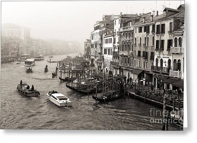 Scenes Of Italy Greeting Cards - Vintage Grand Canal Transportation Greeting Card by John Rizzuto